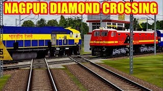 Two trains Crossing eachother at India Famous Diamond Crossing | MSTS Indian Railways