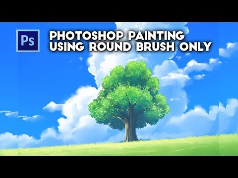 Photoshop Default Round Brush Painting - Tree In Grassland