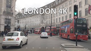 London 4k - Crowded Weekend Streets - Driving Downtown