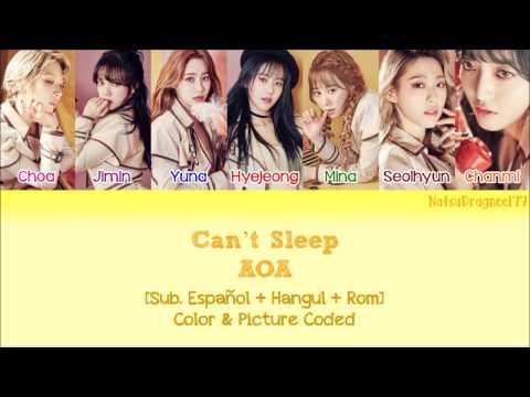 AOA - Can't Sleep (불면증) [Sub. Español + Hangul + Rom] Color & Picture Coded