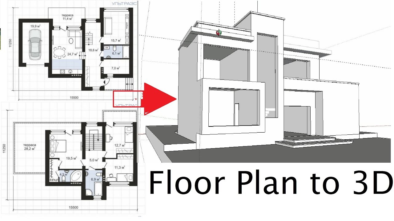 How To Import Floor Plan In Sketchup And Make 3d Model Of A Modern House