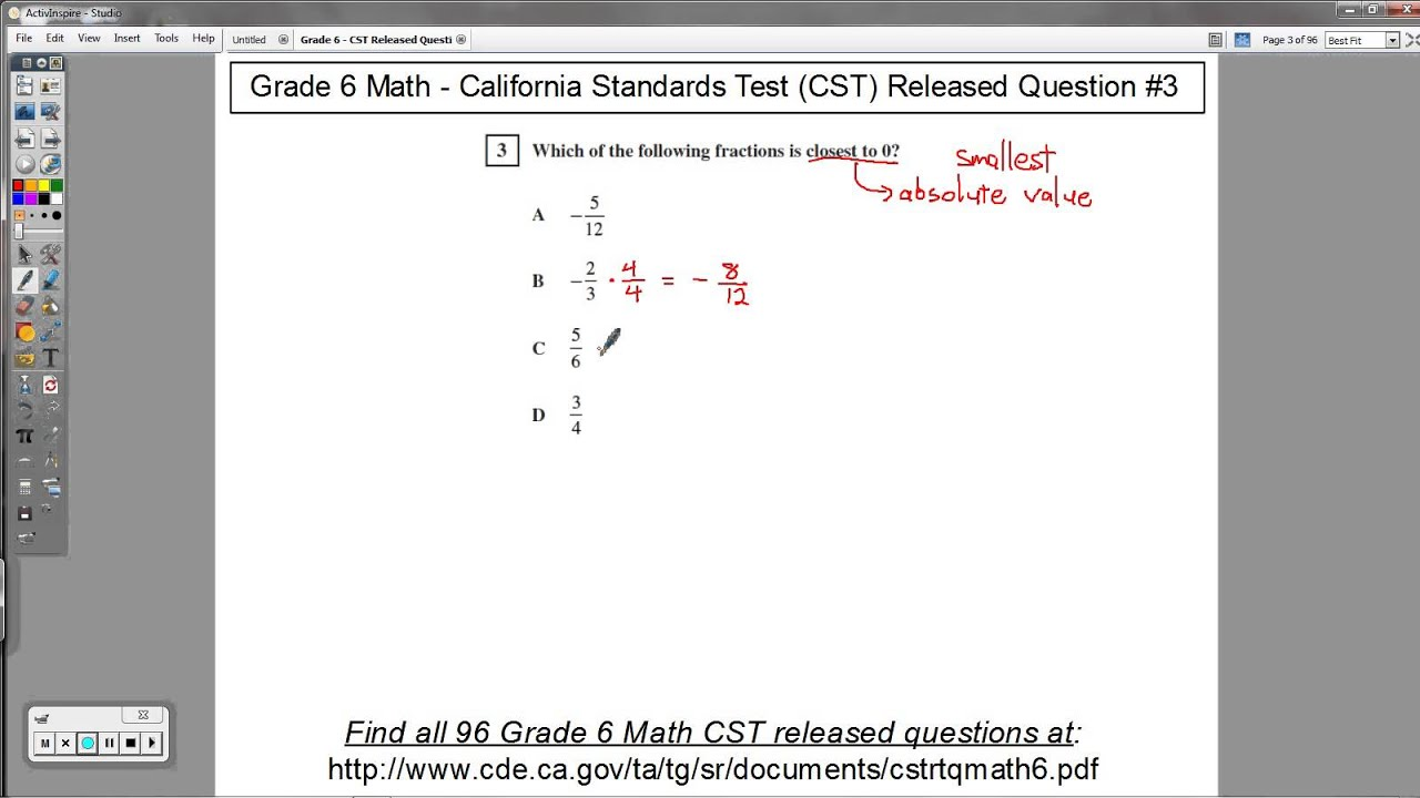 Grade 6 Math - CST Released Question #3 (Fractions and Absolute ...