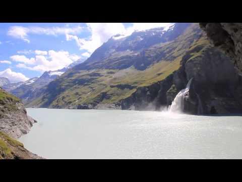 Waterfall in Mauvoisin Lake Switzerland