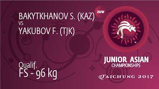 Qual. FS - 96 Kg: S. BAKYTKHANOV (KAZ) Df. F. YAKUBOV (TJK) By TF, 0-0