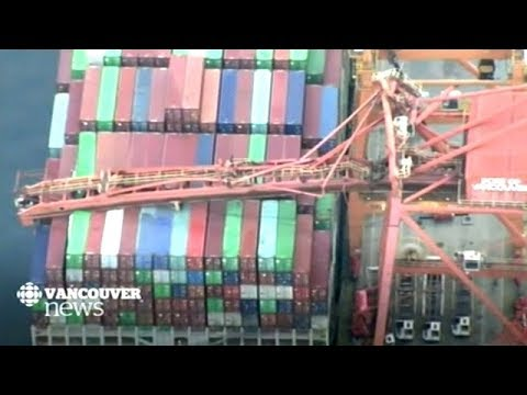 Crane Collapses On Container Ship In Port Of Vancouver BC