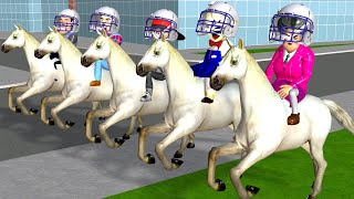 Horse Racing Miss T and Ice Cream Man with Neighbor - Scary Teacher 3D The Best Fun Animation
