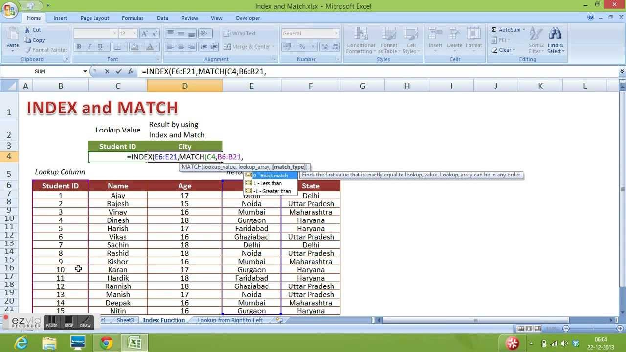 Index And Match Function In Excel To Perform Vertical