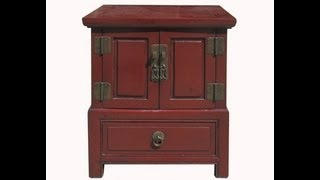 Red Lacquer Chinese Ming Style Nightstand End Table Cabinet Wk2568