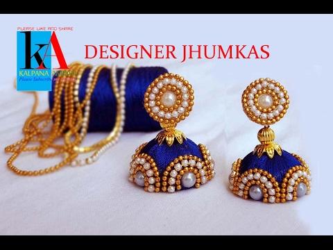 50e879226 earrings stud for silk thread jhumkas - tutorial ! designer silk thread  jhumkas