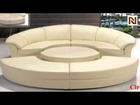Modern Black Leather Circular Sectional Sofa Circle Vgev2276