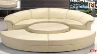 Modern Black Leather Circular Sectional Sofa- Circle VGEV2276