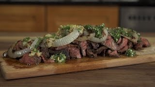 Skirt Steak With Chimichurri And Roasted Garlic Sauce
