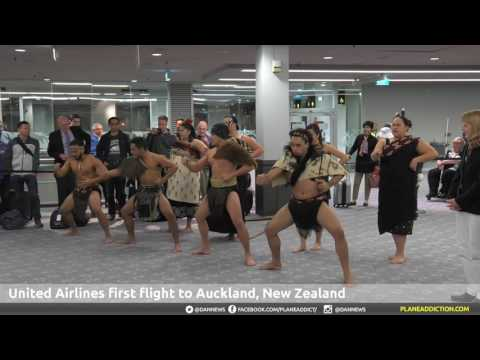 United Airlines Inaugural Auckland Airport Arrival