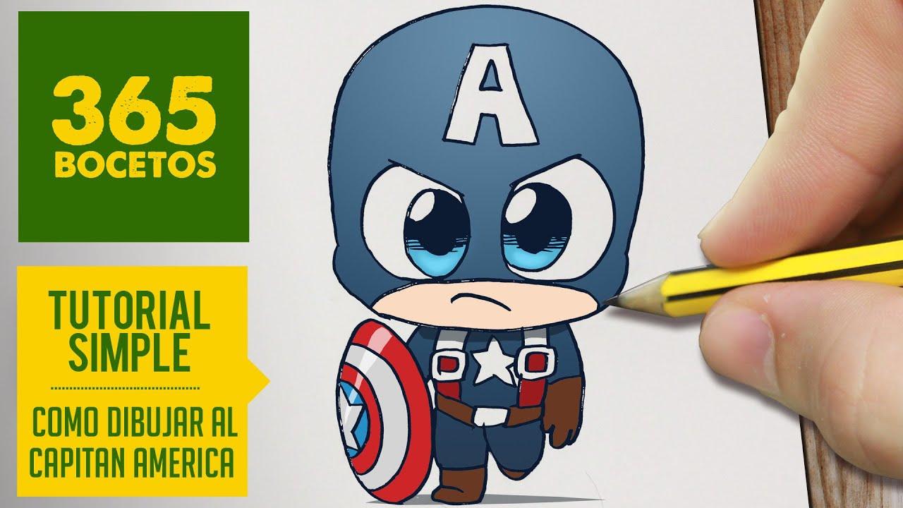 Como Dibujar Capitan America Kawaii Paso A Paso Kawaii Facil How To Draw Captain America