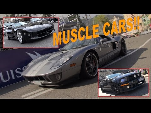 American Muscle Cars take over Monaco Casino Square!! - V8, V10 sounds, revs and more!