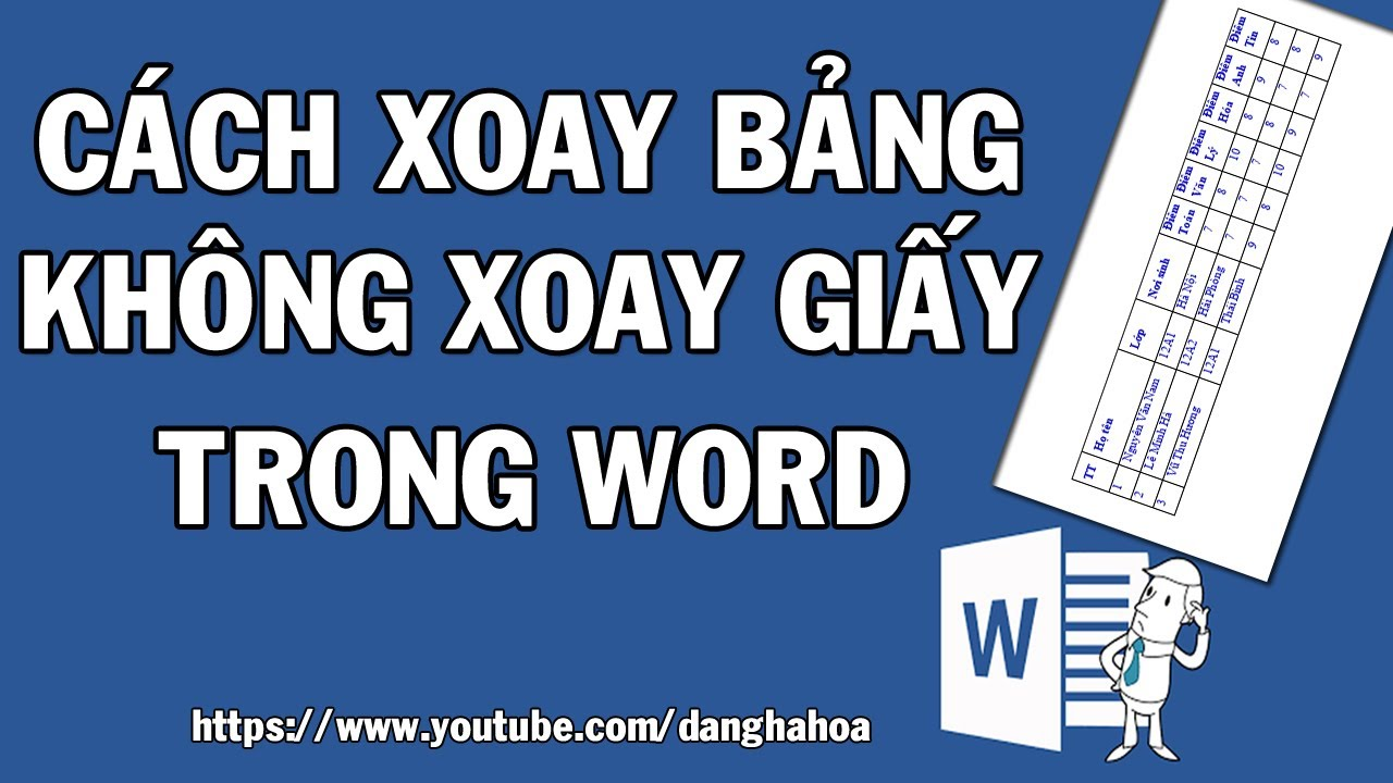 Xoay bảng trong Word 2010,2013,2016,2019 không xoay giấy | Rotate a table don't rotate page in Word