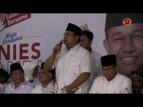 Pidato Ketum Gerindra Prabowo Subianto usai kemenangan Anies-Sandi