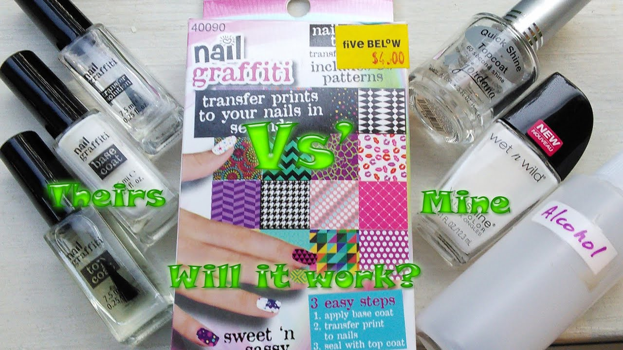 Nail Graffiti transfers - Will it work with my own products? - YouTube