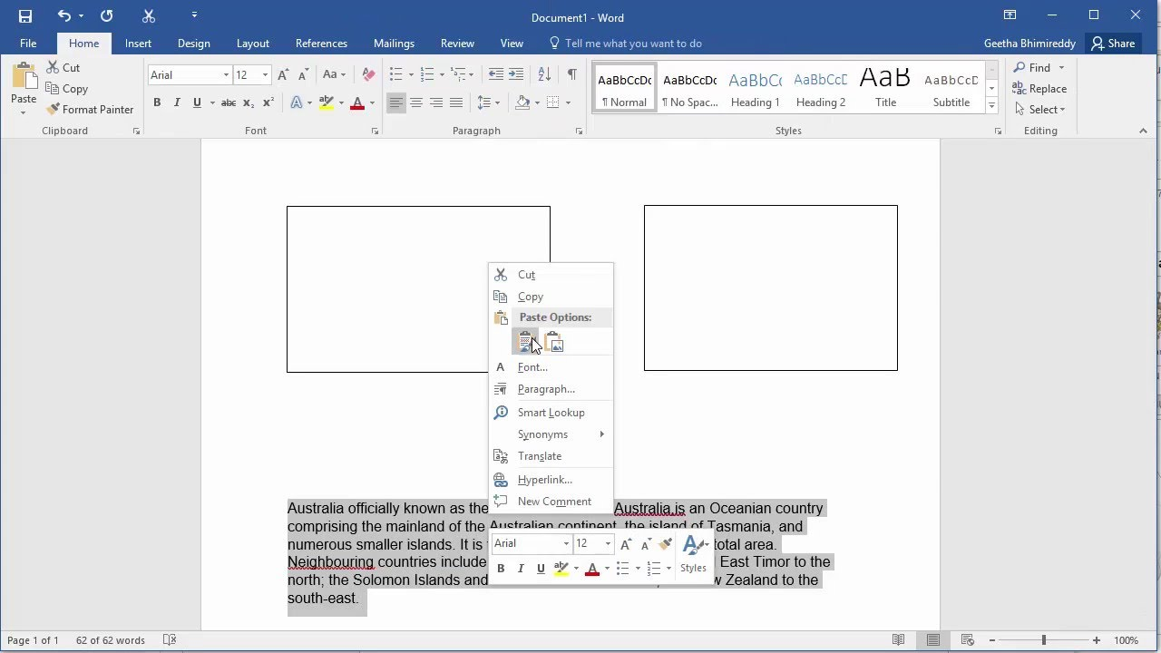 How to Link Text Boxes in a document in Word 2016 - YouTube