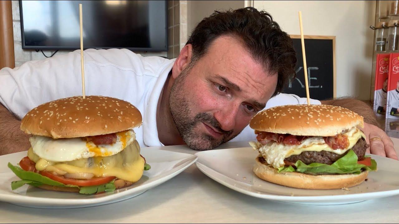 Youtube Ricetta Hamburger.Super Mega Hamburger Da Panico Paura Con Uova E Pancetta Affumicata Youtube