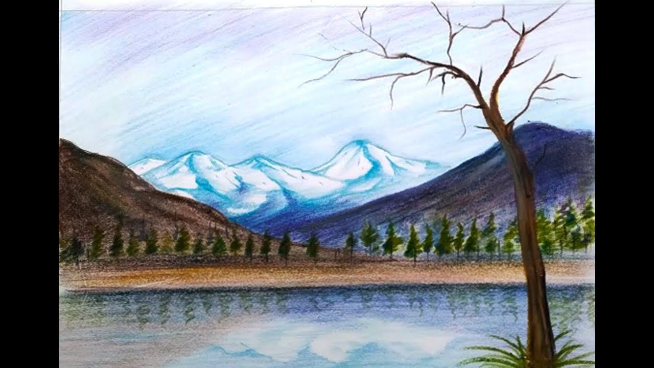 How To Draw A Beautiful Scenery Of Hill Station Amp Mountain