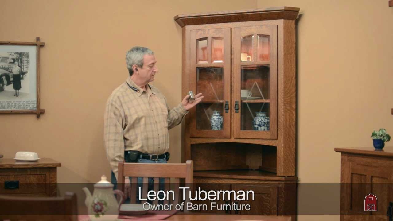 Barn Furniture   Amish Corner China Cabinet   YouTube