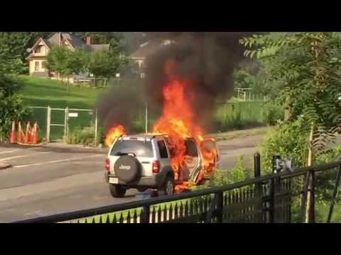 Car Fire in Springfield, Massachusetts