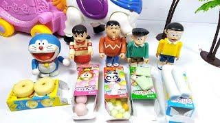 Đồ chơi doremon - mở 5 hộp kẹo nhật bản cùng nhóm bạn Nobita