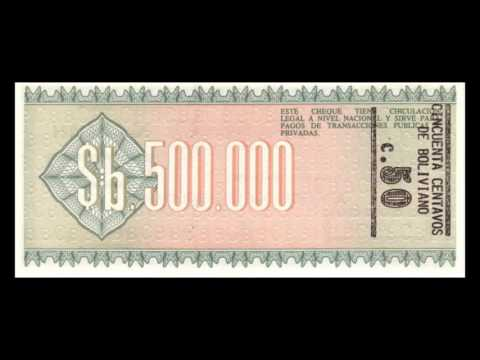 All Bolivian Boliviano Banknotes - 1987 Overprint Issue