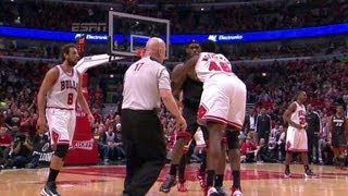 Nazr Mohammed THROWS Lebron James To the Floor Gets Ejected From Bulls vs Heat Game 3!