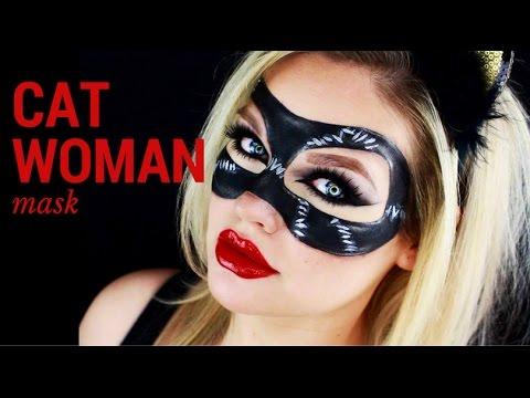 Cat Woman Mask Face Paint Halloween Tutorial