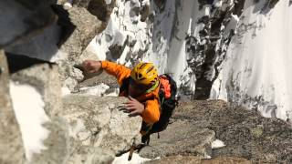 Alpinism and climbing at digital crack (8a), Mont-Blanc massif