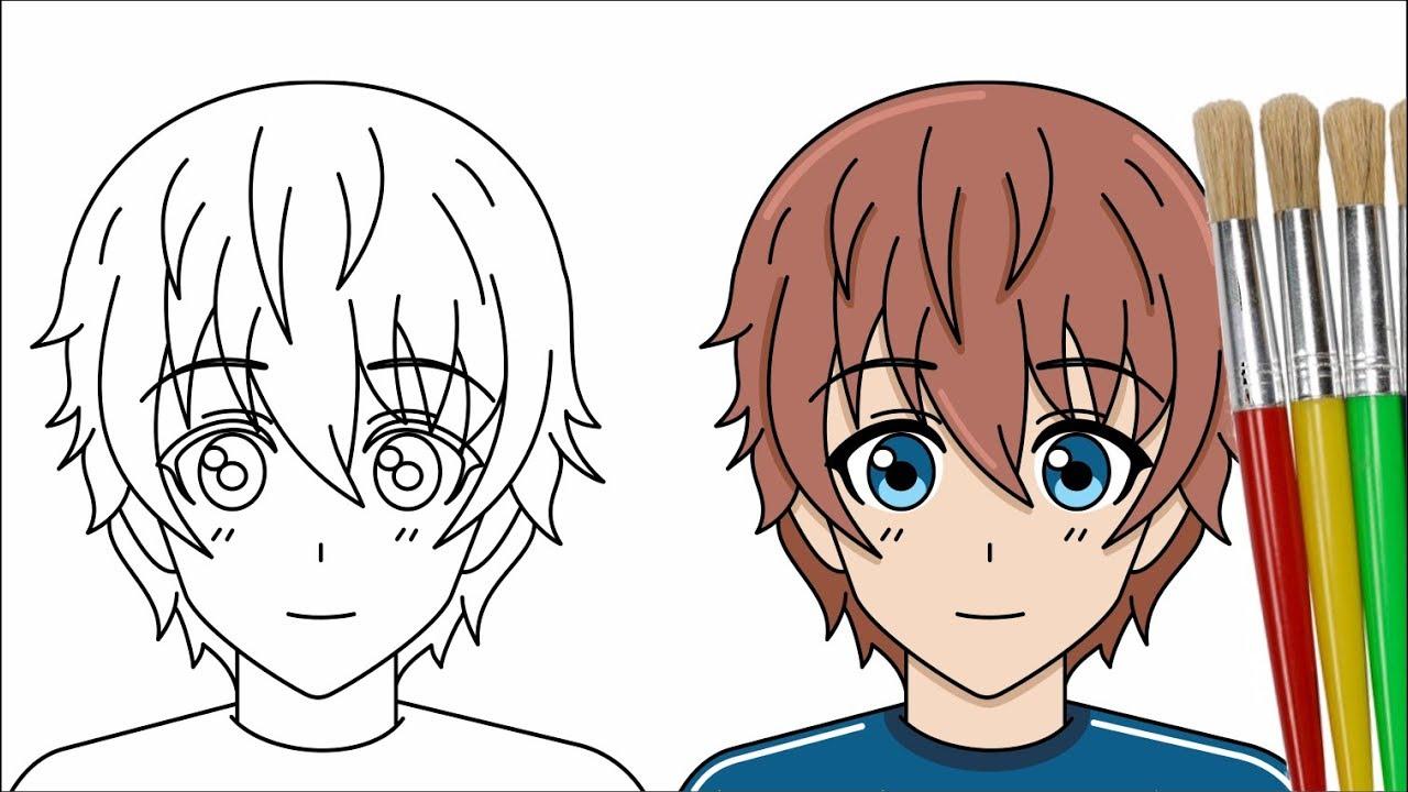 Cara Menggambar Dan Mewarnai Anime Laki Laki Youtube