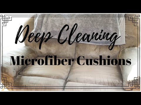 HOW TO CLEAN A MICROFIBER COUCH II CLEAN WITH ME II CLEANING COUCH CUSHIONS