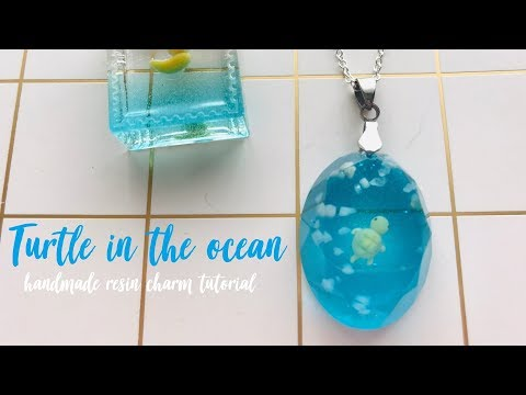 Turtle in the ocean resin charm tutorial (〃 ̄ω ̄〃ゞ