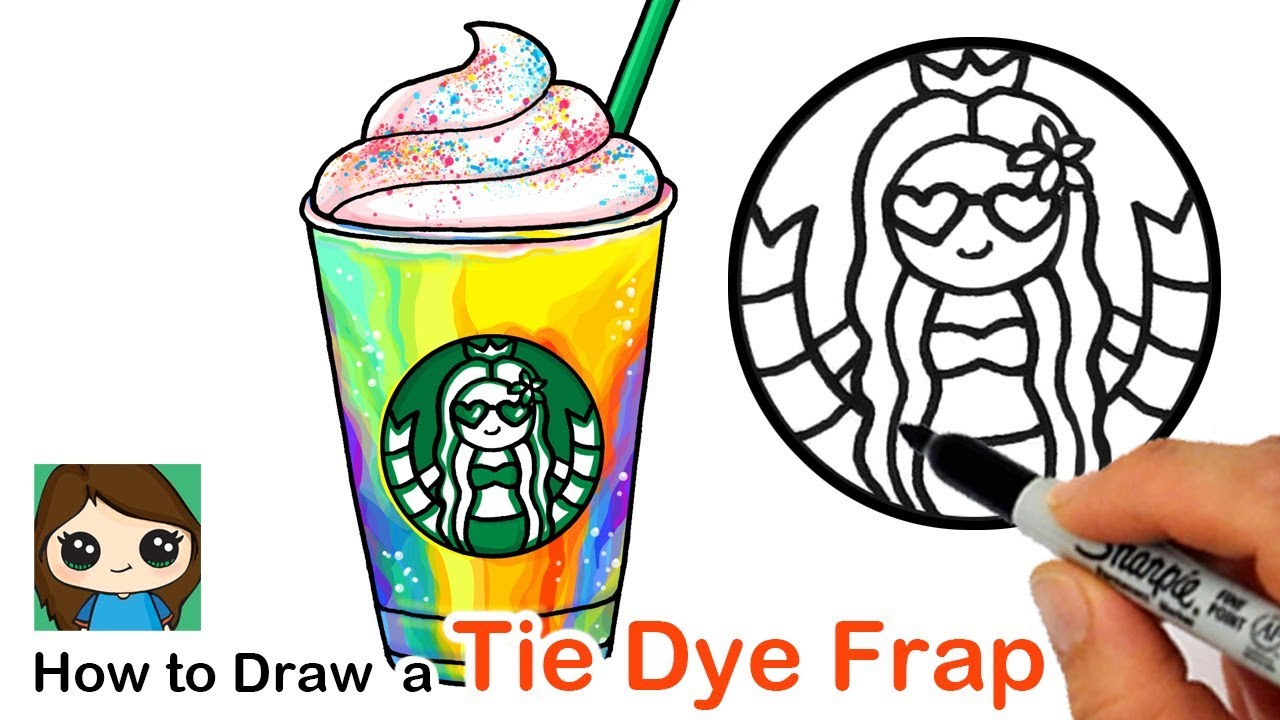 How To Draw A Starbucks Tie Dye Frappuccino Summer Art Series 5 Youtube