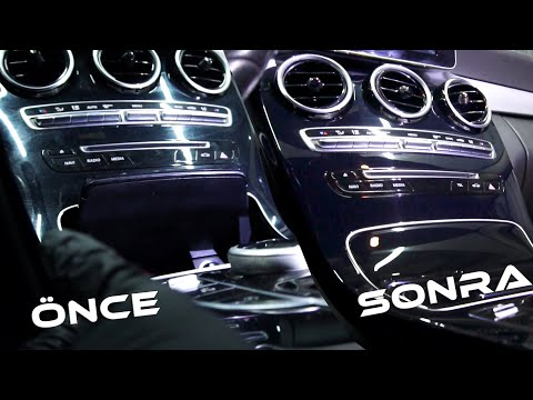 Soft Kaplama Mercedes C180 Siyah Piano Black Konsol Ve Kapı Döşemeleri Çizik Giderme Işlemi
