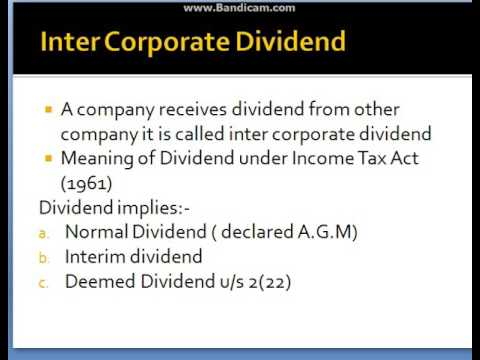 Inter corporate dividend Taxability