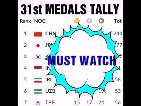 31st Aug Asian Games 2018 Medals Tally ; All Asian Country;  India;  Philippines;  Indonesia;  Japan