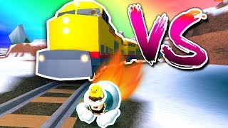 JAILBREAK GLITCH PACKAGE vs TRAIN RACE! *OMG* ( Roblox )
