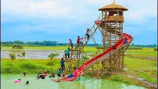 Epic Slide - Swimming Pool Water Slide Making By Smart Boys For Village Kids Playground