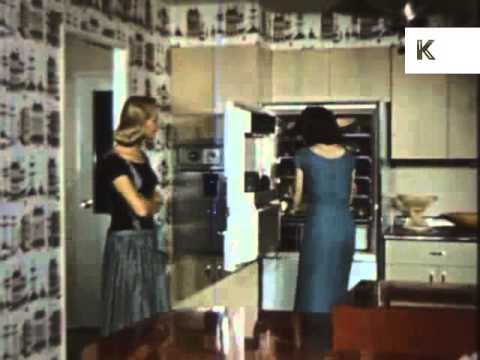 1950s/60s USA Suburban Life, Housewife Prepares Food in the Kitchen