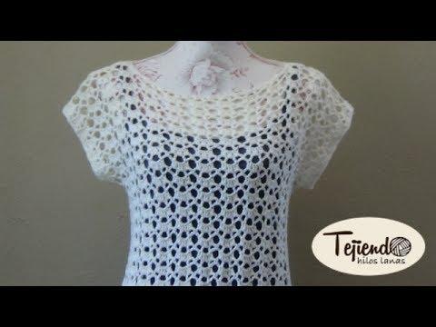 Blusa o jersey con manga ca da tejida a ganchillo youtube - Jerseys faciles de hacer ...