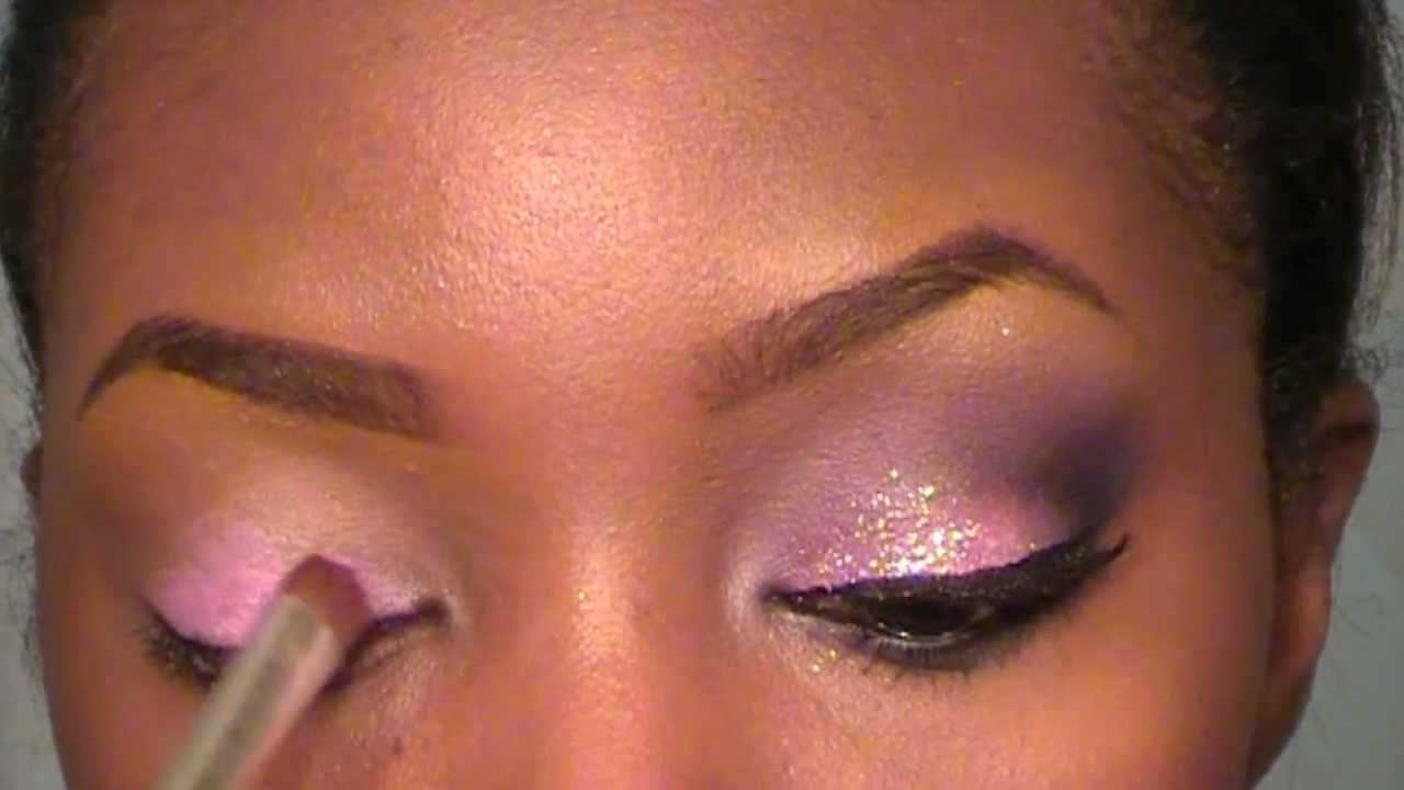 Pink and purple glitter MAKEUP TUTORIAL - YouTube