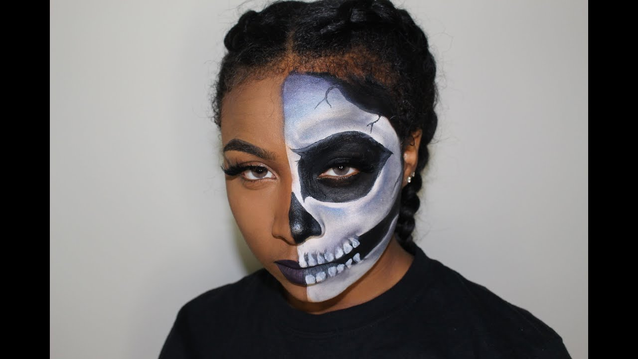 Half Skull Halloween Makeup Tutorial | Beginner Friendly - YouTube