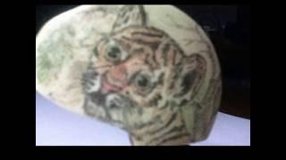 Скримшоу тигренок(материал кость КРС)