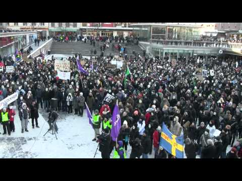 Stock footage from anti-ACTA rallies in Stockholm SE on 2012-Feb-04