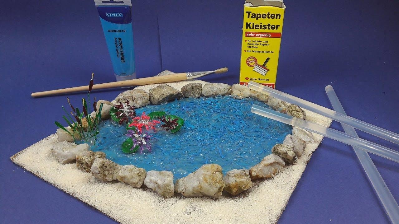 Teich selber basteln mit Seerosen und Schilf, selbst gestalten, YouTube ~ 04211908_Gartendeko Mit Kindern Gestalten