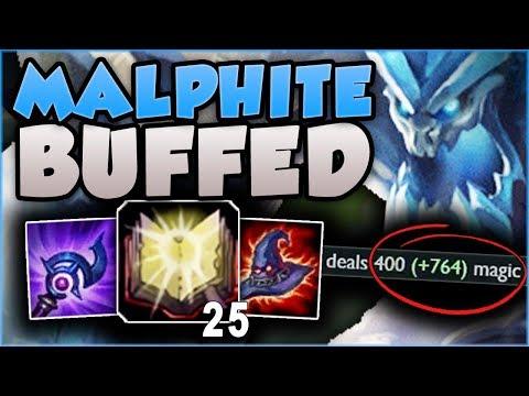 NEW MALPHITE BUFFS ARE SO OP! OVER 1100 DAMAGE ULTS?? MALPHITE TOP GAMEPLAY! - League of Legends