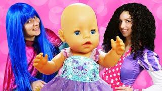 Принцессы Диснея Как Мама для Беби Бон! - Сборник смешных видео с Baby Born. Игры для девочек.